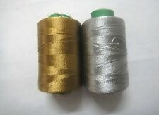 Gold & Silver - 2 spools Viscose Thread Yarn For Hand Machine Embroidery Sewing