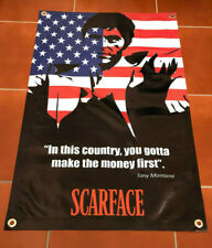 Scarface movie figure canvas banner US American flag poster Tony Montana sign A7