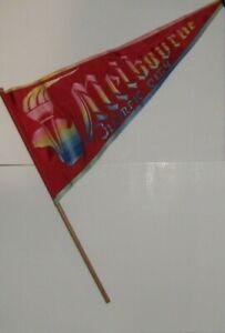 Vintage Melbourne Olympics 1956 Red Fabric Handheld Flag Memorabilia