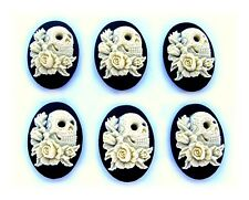 & Roses on Black 30mm x 20mm Cameos 6 Goth Emo Punk Ivory Color Skull w/Tattoos