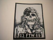 "Old School Harley Biker Skeleton Decal ""13 FTW 69"""