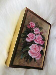 Vintage Floral Oil Painting Signed Framed Canvas Still Life Critchie Pink Roses