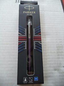 Parker Jotter Ballpoint Pen Stainless Steel VIOLET BARREL BLUE INK NIB FRANCE