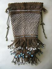 Antique Textile Victorian Brown Crochet Turquoise White Trade Bead Purse 1890s