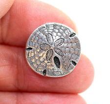 Sand Dollar Button, TierraCast Buttons, Antiqued Fine Silver Plate, 4 Pcs, 8012