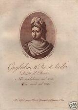 SICILIA_GUGLIELMO II_IL BUONO_PALERMO_RITRATTO_ANTICA INCISIONE_NAPOLI_'800