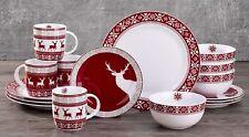 16pc Reindeer Dinner Set Porcelain Plates Bowls Mug Party Crockery Red Christmas