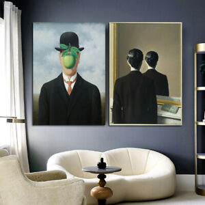 Modern Magritte Canvas Paintings Surrealism Wall Art Pictures Posters and