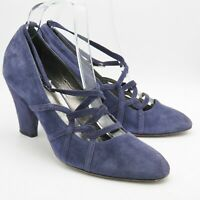 Hobbs Purple Blue Suede Ladies Shoes  Size 5.5 38.5 Strappy Court Shoes