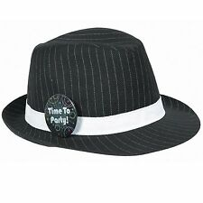 "Chic Fedora Hat with Happy Birthday Pinstripe Design Black/White 10"" x 5.1"""