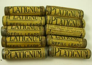 VINTAGE PLATIGNUM  PROPELLING  PENCIL REFILL LEADS....10 METAL  TUBES ,