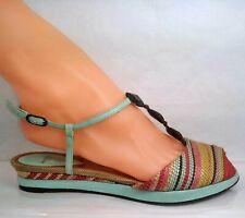 Audley London T-strap Sandal Multicolor Raffia Women EU 36.5 US 6.5 Spain Made
