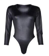 Ladies PVC PU Wet LOOK Long Sleeve Leather Shiny Leotard Bodysuit Women Top Black XXXL