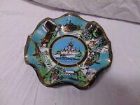 "Walt Disney World Glass Curved rippled glass Dish Magic Kingdom 7"" round monrail"