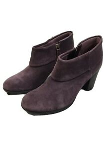 Clarks Enfield Canal Bootie, Size 8.5 women's, Collection, Plum, Suede, Leather