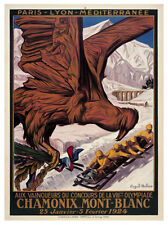 CHAMONIX FRANCE 1924 Winter Olympic Games Official Olympic Museum POSTER Reprint