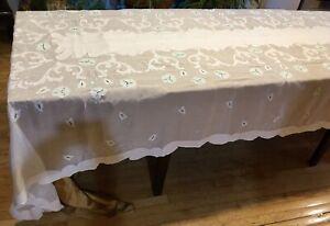 "Fine linen organdy cloth 138"" x 68"". Cutwork, Appliqué & Embroidery. Great Skill"