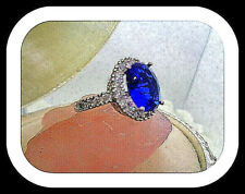 Blue Saphire ring made with 18k white Gold Over Size 9 Weddin, Engadgment,Party