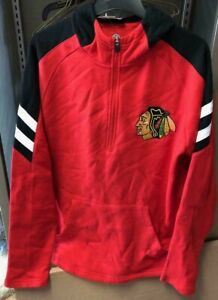 NEW!! NHL Fanatics Men's Chicago Blawkhawks Quarter Zip Hooded Pullover #235