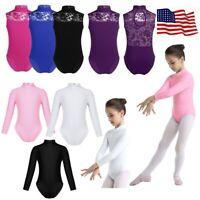 US Girls Gymnastics Leotard Lace Ballet Dance Dress Tutu Skirt Dancewear Costume