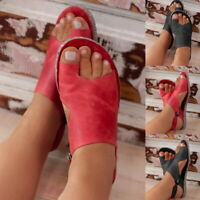 Women Summer Sandals Flats Casual Single Shoes Retro PU Leather Flat Sandals