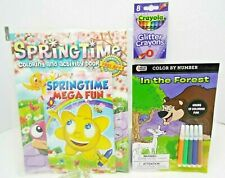 Activity Bundle-Springtime Coloring Book, In the Forest Color/#, Glitter Crayons