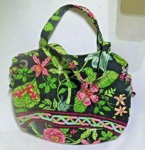 Vera Bradley Green Pink Floral Dual Strap Satchel Bucket Bag Purse Quilted