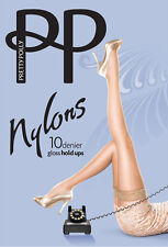 Pretty Polly Nylons 10 Denier Sherry Glossy Lace Top Hold UPS S / M