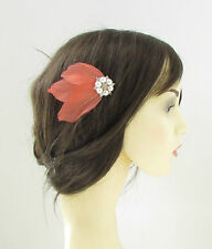 Coral Pink Ivory White Silver Feather Hair Comb Pearl Prom Bridal Vtg 1920s 131