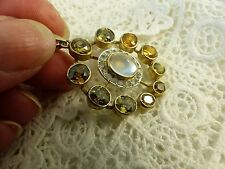 Antique Victorian Silver Gilded Moonstone and Citrine pendant
