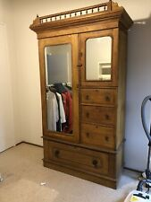 Antique Vintage Timber Wardrobe With Drawers