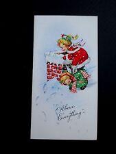 #L1- Vintage Unused Xmas Greeting Card Eve Rockwell Angels on Rooftop Chimney