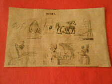 Gravure 1853 Rébus Marguerite Fille Ainée de Philippe IV Roi d'espagne