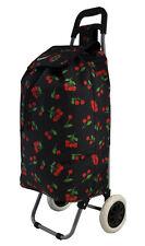 Hoppa Folding Lightweight Shopper Trolley Shopping Bag on Wheels Cherries Black