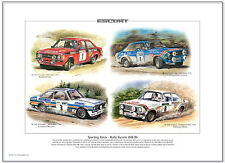FORD ESCORT Mk2 RALLY CARS  Fine Art Print A3 size - RS1800 RAC Welsh Portuguese