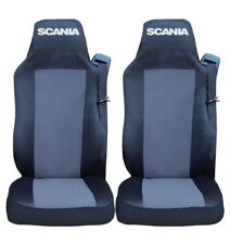 2x Seat Covers for SCANIA G P R Tailored HGV Truck Lorry Black/Grey