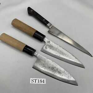 Damaged Lot of three Japanese Chef's Kitchen Knives Vintage From Japan ST184