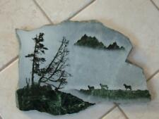 1970s Stunning! Artist's Green Marble Slab Carved Etched Relief Scene
