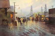 G. Harvey LEAVING THE OIL PATCH Western Cowboys Oil Wells art print MINT w/COA