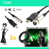 3M USB Microphone Mic Link Cable Adapter Male XLR Female For PC For Notebook MAC