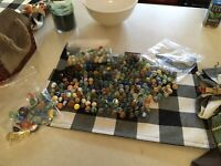 Vintage Mix  Marbles  - Estate Collection Silver,agates,catseyes Solids,glass ..