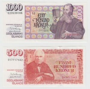 Iceland 1000 & 500 Kronur dated 2001 PNL UNC & EF+ first design with later date