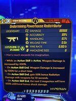 "XBOX Borderlands 3 ""MODDED REDISTRIBUTOR"" Level 65 REDIS CRAZY DAMAGE INFI AMMO"