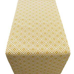 Scandi Style Ikat Geometric Print Table Runner. Mustard ochre yellow. Two sizes.