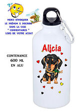 gourde aluminium personnalisable chien teckel réf 27