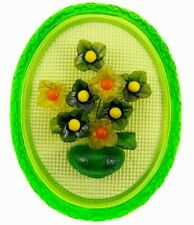 """10.75"""" New Designs Inc. Vintage Glass Wire Flower Wall Plaque USA Hanging 1960s"""