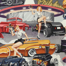 Alexander Henry PHILS DRIVE-IN American Diner Hot Rod Car Hop Pin Up Fabric Grey