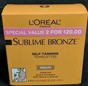 Loreal Paris Sublime Bronze Medium Self Tanning Towelettes 6 Count New