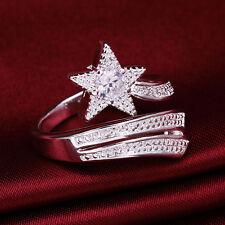 Neu Mode Damenring Rhinestone-Strass Kristall  Silber Retro Sterne Geschenk  Neu