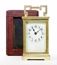 ANTIQUE GILT BRASS FRENCH CARRIAGE CLOCK & CASE WORKS WELL, VERY GOOD CONDITION